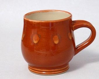 Orange Dots Pottery Mug, 13 ounce (coffee, tea cup, stoneware, ceramic, oranges mug, glossy glaze)