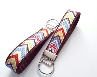 Warm Chevron ONE Key Fob / Brown Cotton Webbing