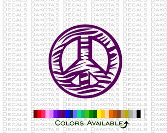 Zebra Peace Sign Outline Decal