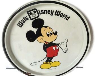 Vintage Mickey Mouse Metal Serving Tray Original Walt Disney World Tin Litho