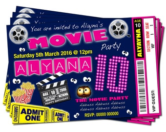 Printable Personalised Movie Night Theme - Pink Blue Birthday Party Ticket Style Invitations
