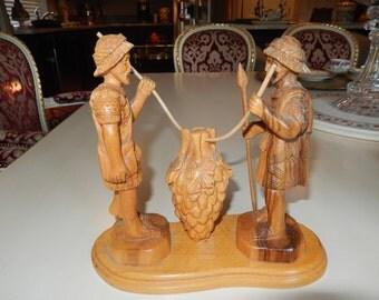 JERUSALEM FAISAL HAMMAD Wood Carving of Two Men