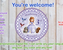 Sophia the first cake toppers, Sofia the first birthday cake toppers size 4x4 inches - Digital file-PERSONALAZED