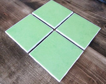 Set of 4 Green Tile/Ceramic Coasters