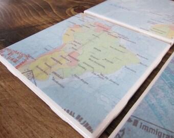 Set of 4 Vintage Map Tile Coasters