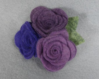 Purple Flower Brooch, Purple Rose Brooch, Purple Brooch, Purple Pin, Felt Flower Pin,  Felt Pin, Fabric Flower Brooch, Jewelry, Felt Jewelry
