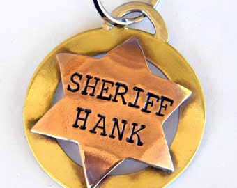 Sheriff Badge Dog Tag - Deputy Badge - Western Pet Tag - Pet ID Tag - Dog ID Tag - Personalized, Handmade