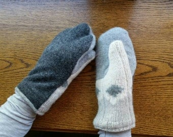 UpCycled Wool Sweater Mittens Fleece lined Women's one size fits most. Gray