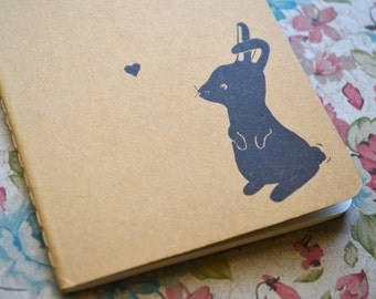 Small Hand Printed Rabbit Travel Journal Moleskine
