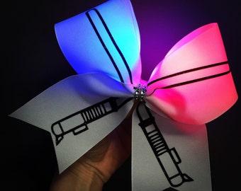 Light Up LIGHTSABER Cheer Bow Light Saber Hair Bow
