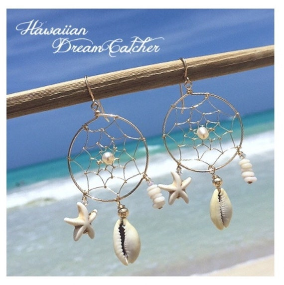 Hawaiian Dream Catcher Items similar to Hawaiian dream catcher earring white on Etsy 7