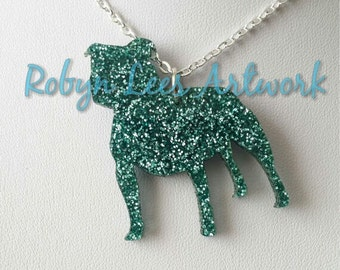 Glittered Green Staffie Staffordshire Bull Terrier Dog Laser Cut Necklace on Silver Crossed Chain