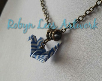 Japanese Origami Paper Swan Necklace on Bronze Crossed Chain or Black Faux Suede Cord