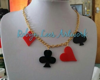 Card Suit Deck Laser Cut Gold Necklace with Heart, Club, Diamond and Spade in Red and Black