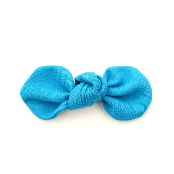 BLUE Fabric Bow : Knotty Gal Style on a Clip or Nylon Headband  // Machine Washable
