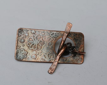 Flowers Etched Copper Bracelet Toggle Clasp ,Components ,Copper Beads ,Handmade