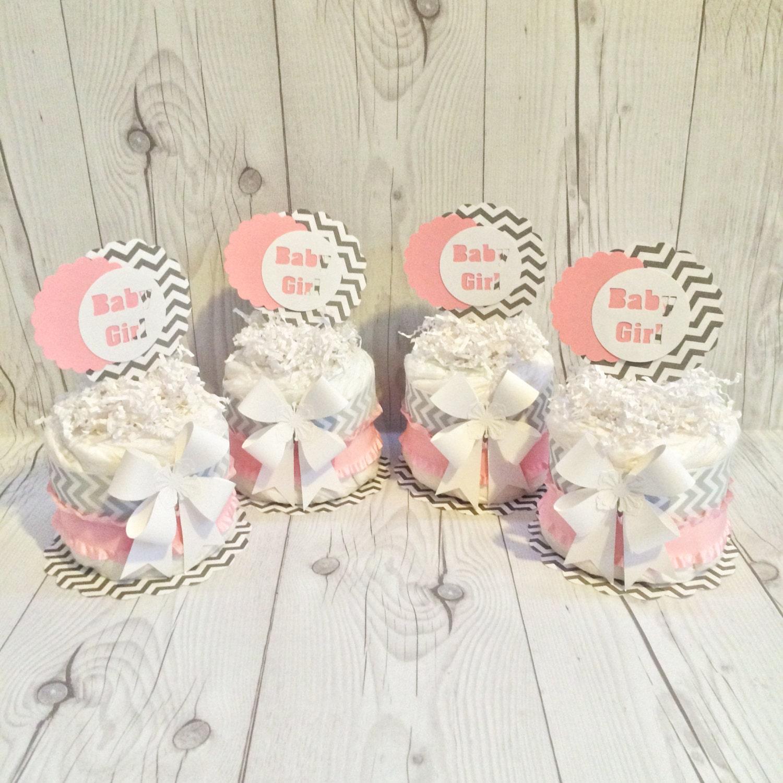 Mini diaper cake centerpiece kit baby pink gray and white