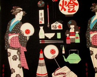 Fabric, Geisha Coterie  Black, Japanese Household, Alexander Henry Asian Indochine, One Yard or More
