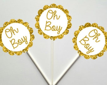 Oh Boy Cupcake Toppers, Baby Shower Cupcake Toppers