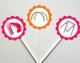 Playground Cupcake Toppers, Park Cupcake Toppers, Sliding Board, Monkey Bars, Swing Set Cupcake Toppers - 86161056P
