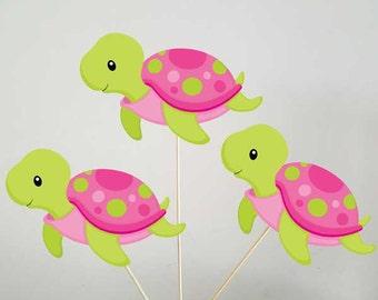 Turtle Centerpieces, Under the Sea Centerpieces, Pink Turtle, Girl Turtle