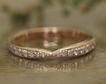 Bow Tie Shaped Diamond Wedding Band with Milgrain, 14k Rose Gold, Hybrid Prong Channel Set Diamonds, 1/2 Eternity, Pinched Center, Imani M