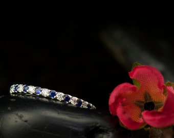 Blue Sapphire and Diamond Eternity Band in 14k White Gold, 1.3mm Wide, 0.42ctw, Eternity Band, Stacking Ring, Peyton B