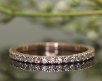 Diamond Wedding Band in Rose Gold, Round Brilliant Cut, Shared Prong, 5/8 Eternity, Stackable, Petite Heather B