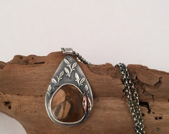 Sterling Silver Necklace, Vintage Look Necklace, Gemstone Necklace, Pendant Necklace, Jasper Necklace, Silver Pendant, Statement Necklace
