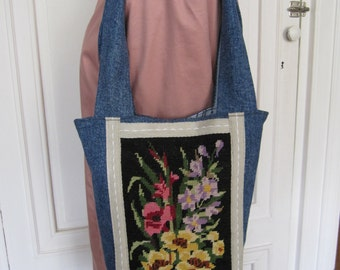 Recycled jeans and canvas handbag
