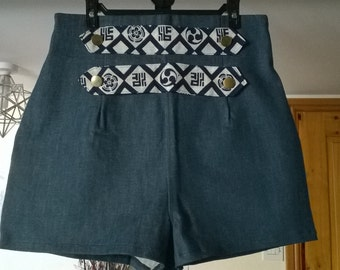 Ladies high waist denim shorts, with brass button and chinese fabric detail UK size 14