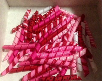 """Korker Pieces, 3"""", cut and heat sealed, 100 Piece Valentines Mix, Solids and Prints, DIY Valentines korker bow supply"""