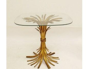 Vintage Mid Century Modern Gold Wheat Sheaf Side End Table Hollywood Regency
