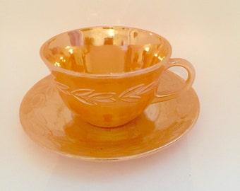 FIRE KING PEACH Laurel Leaf Tea Set, Creamer, Sugar Bowl & Dessert Plates, Vintage Fire King