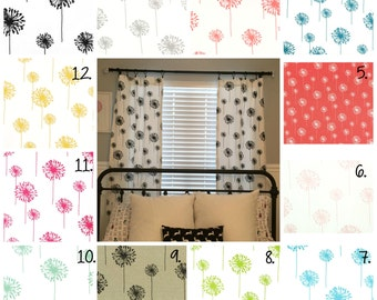 Dandelion Curtain Panels Nursery Curtains Coral Dandelion Drapes Floral Curtain Panels Coral Drapes Black and White Dandelion Curtain Panels