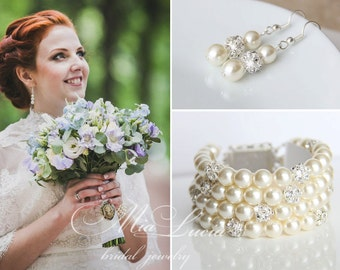 Bridal Jewelry Set, Swarovski Pearl Bridal Jewelry Set, Ivory Pearl Earrings Bracelet Set, Wedding Jewellery Set Bracelet art. e02-b07