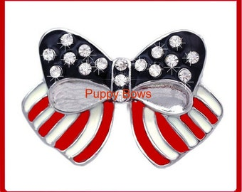 Puppy Bows ~ rhinestone PATRIOTIC 4th of July American flag BARRETTE pet hair clip red white blue ~ US Seller