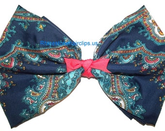 Becky Bows ~OOAK Barrette Hand crafted huge Scarf BIG hair bow Women or Girls giant coral navy paisley