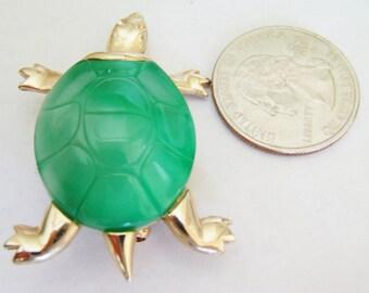 Vintage Green Turtle Brooch / Pin / Turtle Jewelry / Green Brooch / Pin / Turtle Brooch / Pin / Turtle Items / Gold Turtle Brooch / Pin