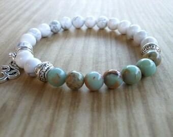 African Opal Mala Bracelet, Healing & Balancing, Mala Bracelet, Yoga, Buddhist, Meditation, Prayer Beads