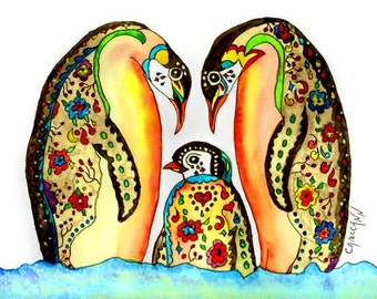 "Colorful Penguins Blank Greeting Card in two sizes or an ACEO or 5"" x 7""  or 8"" x 10"" Print"