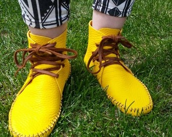 Adult Women's Moccasin Inca style high top native American aztec leather bison hide hippie larp festival