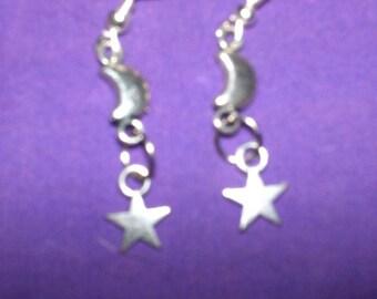 Crescent Moon & Star Silver Earrings OOAK
