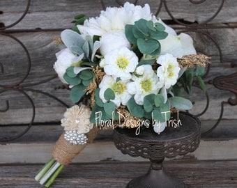 Cream Peony, Dahlia & Zinnia Wedding Bouquet
