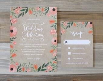 Printable Floral Chalkboard Invitation and RSVP Card