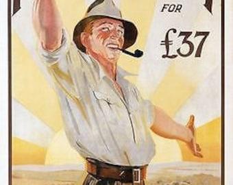 Vintage Emigrate To Australia Travel Poster A3 Print