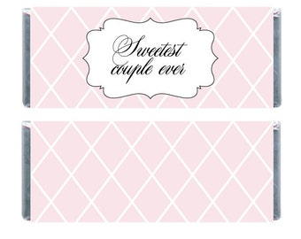 Pink Checkered Candybar Wrappers, Sweetest Couple Ever Candy Wrappers, Chocolate Bar Wrappers, Wedding Candy Bar Wrappers
