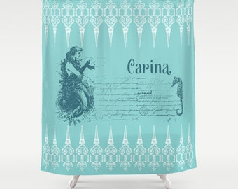 Mermaid Shower Curtain - Vintage mermaid and Seahorse-  teal and white, retro, details,  art, decor, bath, home, personalized