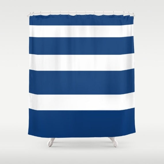 Items similar to blue stripe shower curtain navy blue for Blue and white striped bathroom accessories