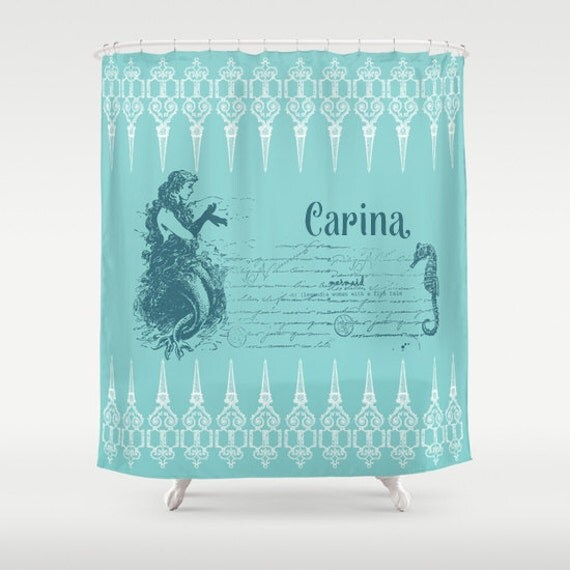 Items similar to mermaid shower curtain vintage mermaid for Mermaid bathroom decor vintage